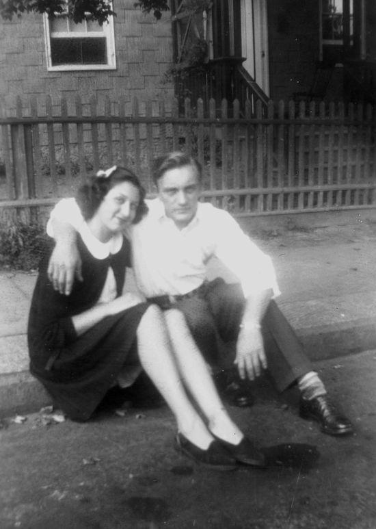 Nan & Pop on curb