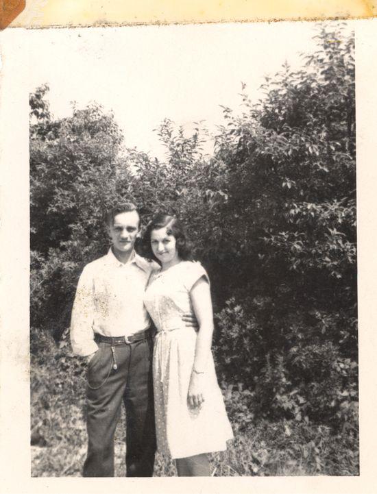 Nan & Pop by trees
