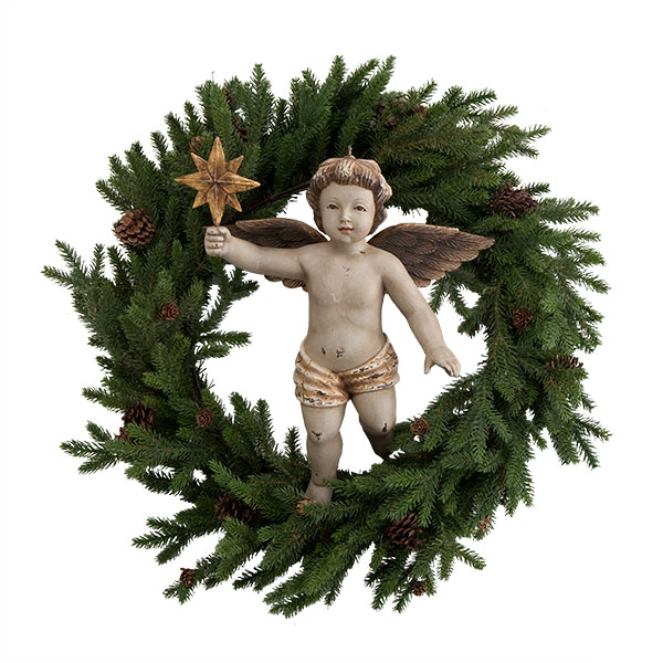 Wisteria angel on wreath
