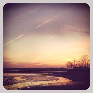 Sunset at stony brook harbor