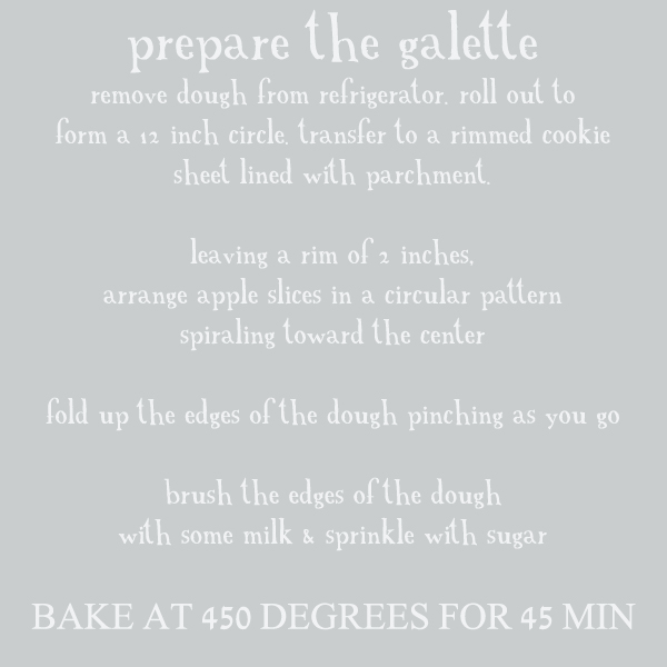 Text square for preparing galette