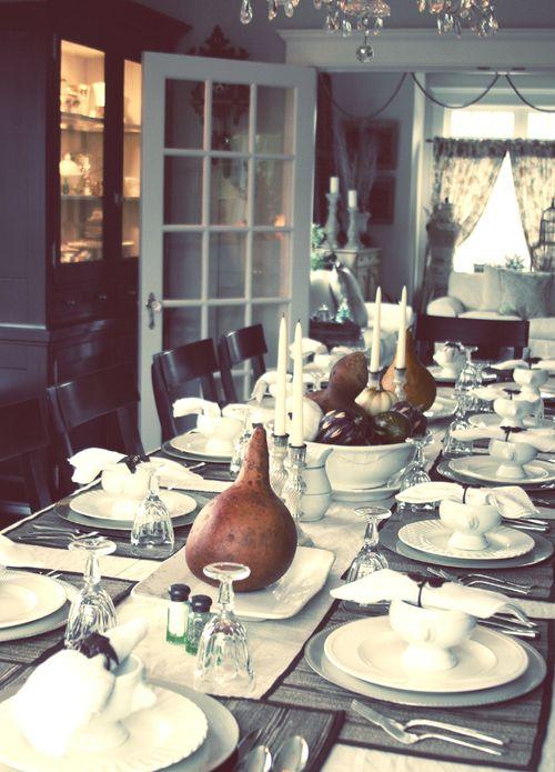 dining room set for thanksgiving dinner